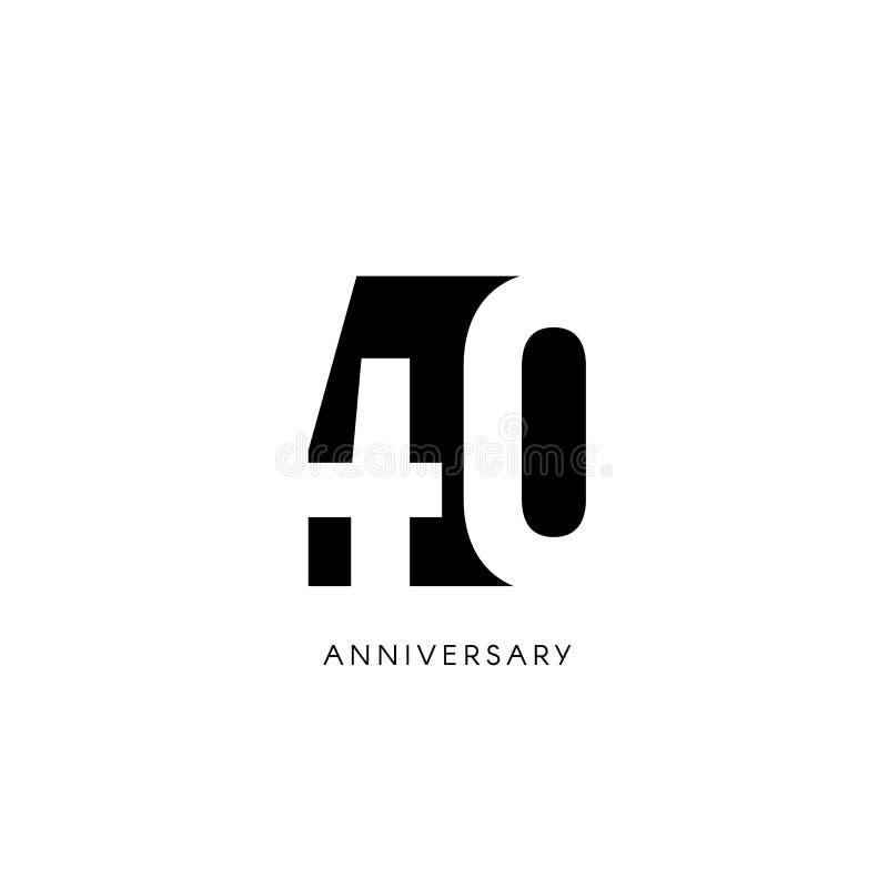 Quarenta aniversário, logotipo minimalistic Quadragésimos anos, 40th jubileu, cartão Convite do aniversário sinal de 40 anos ilustração stock