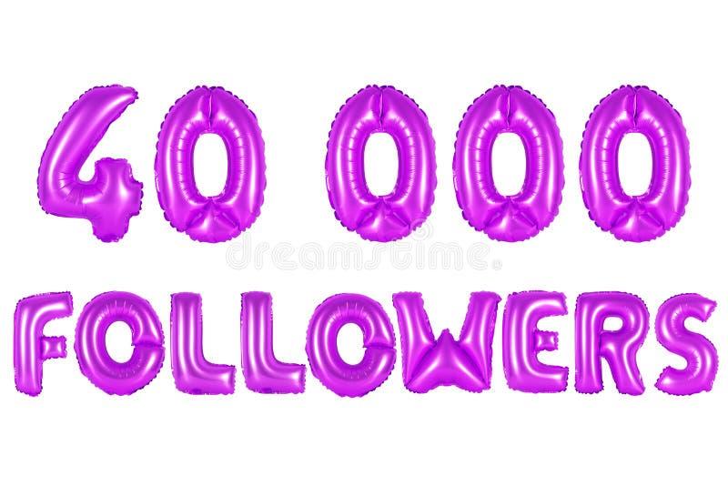 Quarenta mil seguidores, cor roxa imagens de stock
