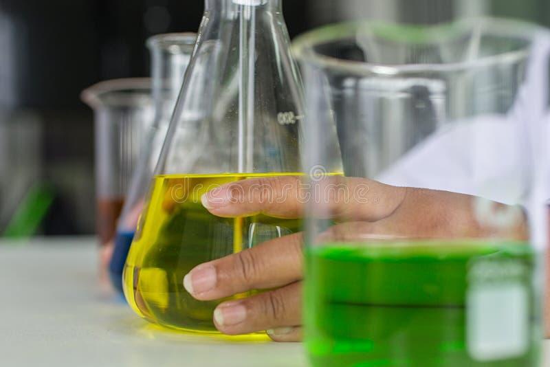 Quarity för provning för Sciene provkemist vetenskaplig Forskare som arbetar på laboratoriumet Man på kemilabbet royaltyfri bild