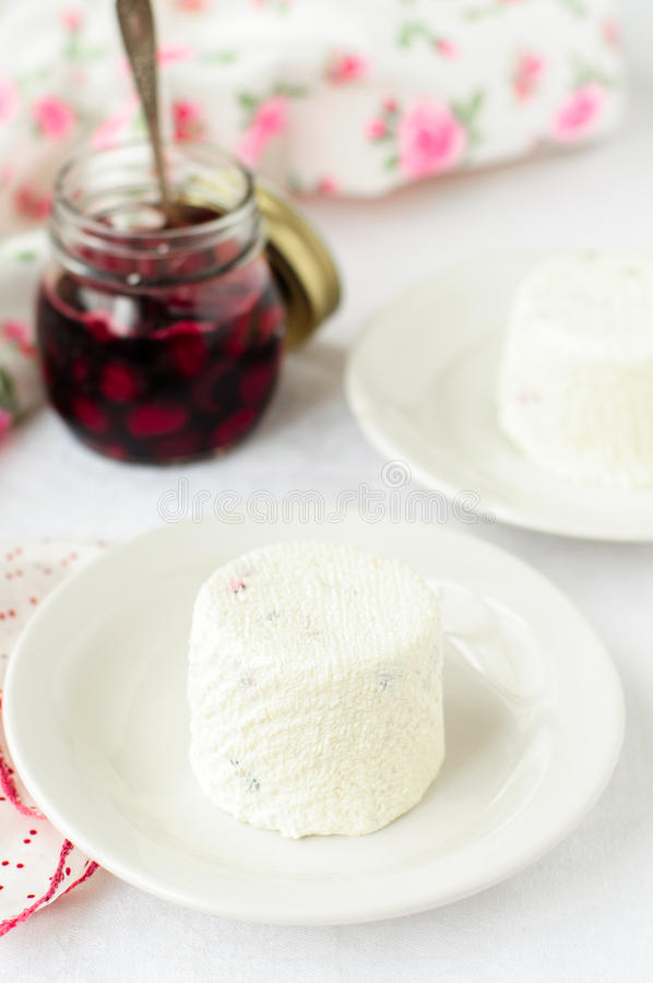 Quark Dessert with Cherry Sauce royalty free stock photography