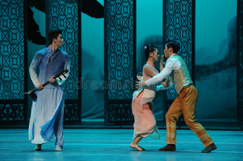 Quarrel between brothers-The second act of dance drama-Shawan events of the past. Guangdong Shawan Town is the hometown of ballet music, the past focuses on the stock photo