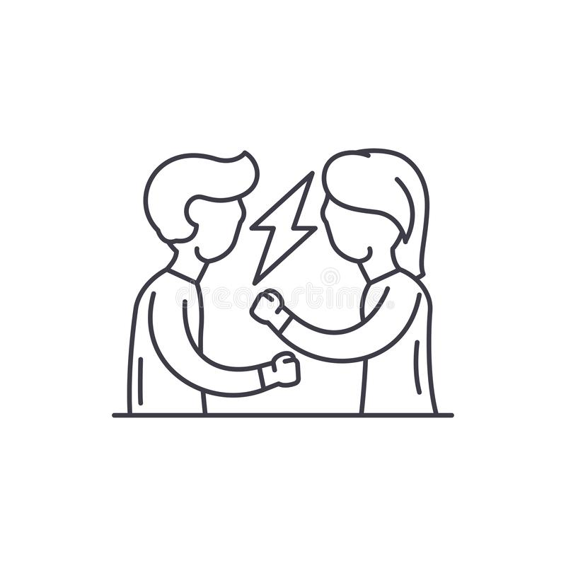 Quarrel line icon concept. Quarrel vector linear illustration, symbol, sign vector illustration
