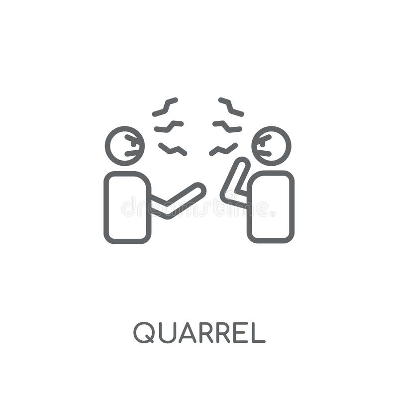 Quarrel linear icon. Modern outline Quarrel logo concept on whit stock illustration