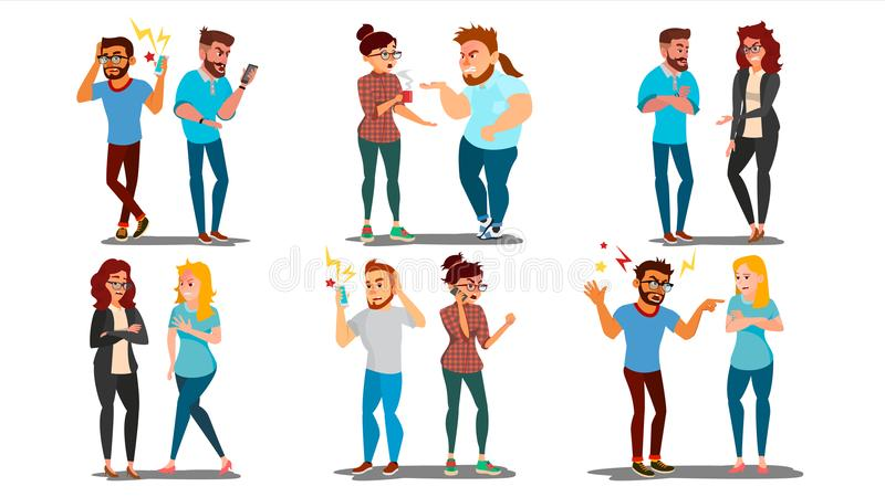 Quarrel People Set Vector. Concept Office Workers, Wife Husband Relationship Characters. Conflict. Disagreements. Negative Emotions. Quarreling People. Angry stock illustration