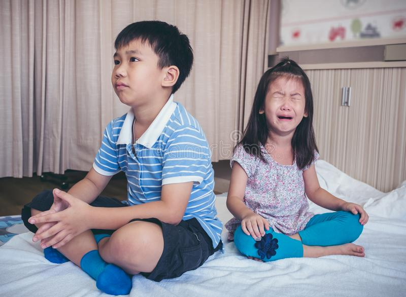 Quarreling conflict of children. Relationship difficulties in fa royalty free stock photo