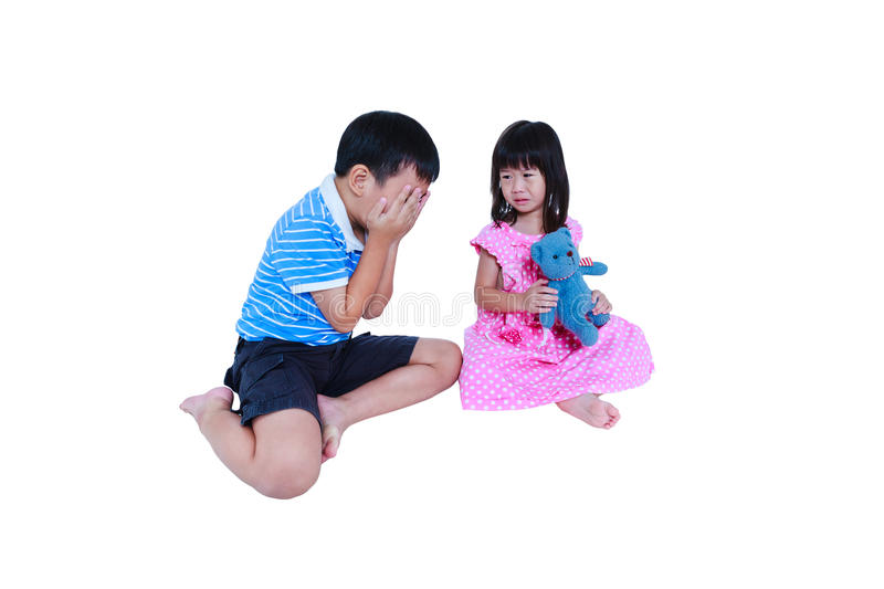 Quarreling conflict of sibling. Concept brawl in family. Isolate royalty free stock images