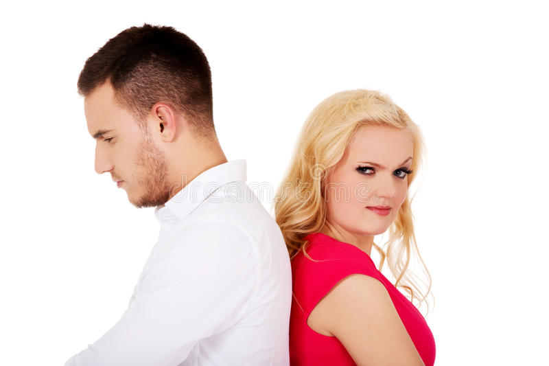 Quarreling couple not talking to each other stock photo