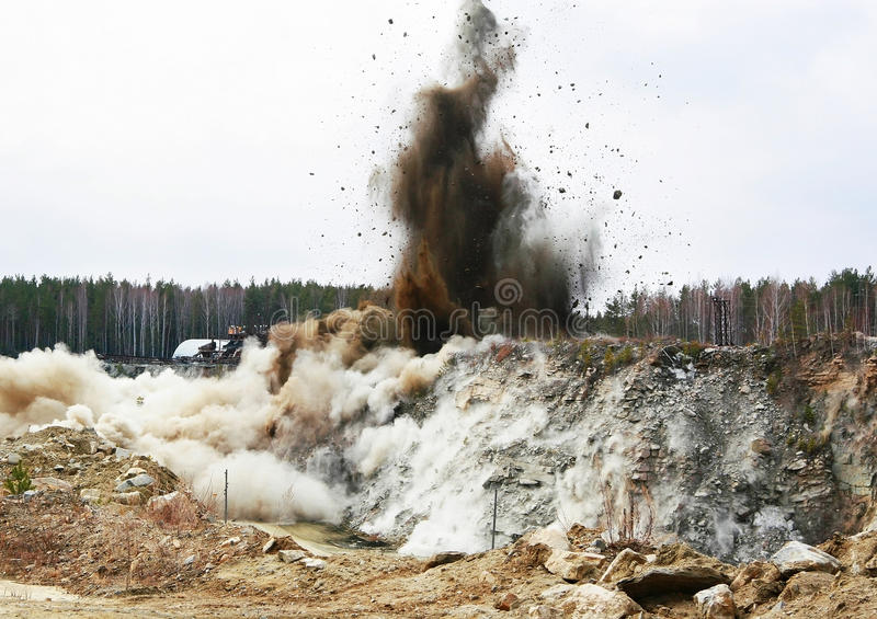 Quarry blasting stock photos