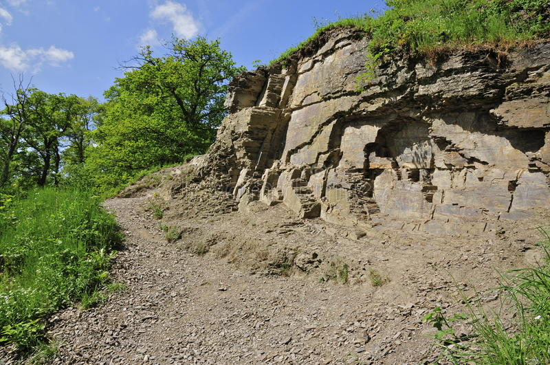 Quarry. Carboniferous Quarry, now Geological Monument Heimansgroeve, near Cottesen, Limburg (NL) where Conservationist Eli Heimans did geological research in the royalty free stock photography