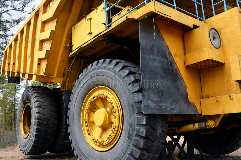 Quarry dump truck on the front. Mining dump truck on the side truck royalty free stock image