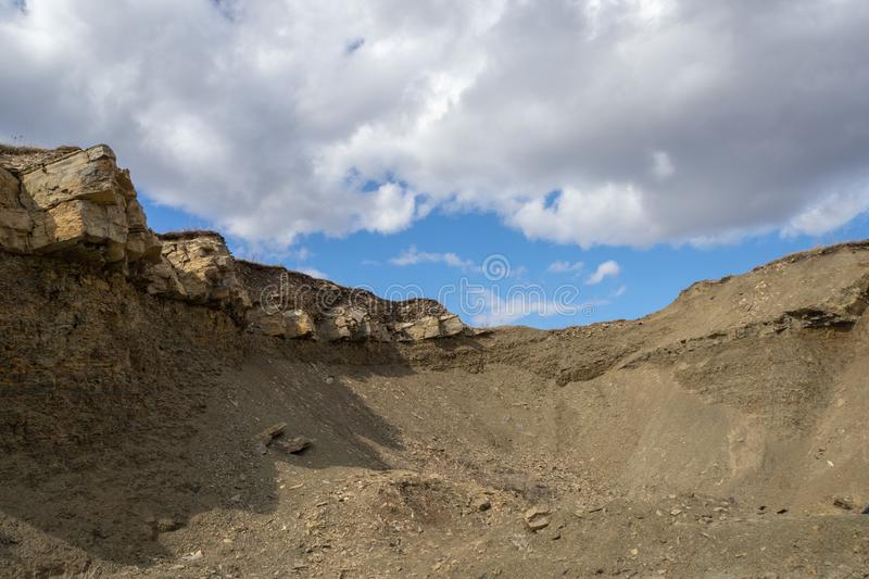 Quarry for the extraction of natural stone and rubble. stock photo