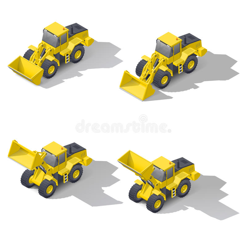 Quarry front loader with a different position of the bucket. Isometric icon set, vector graphic illustration design stock illustration