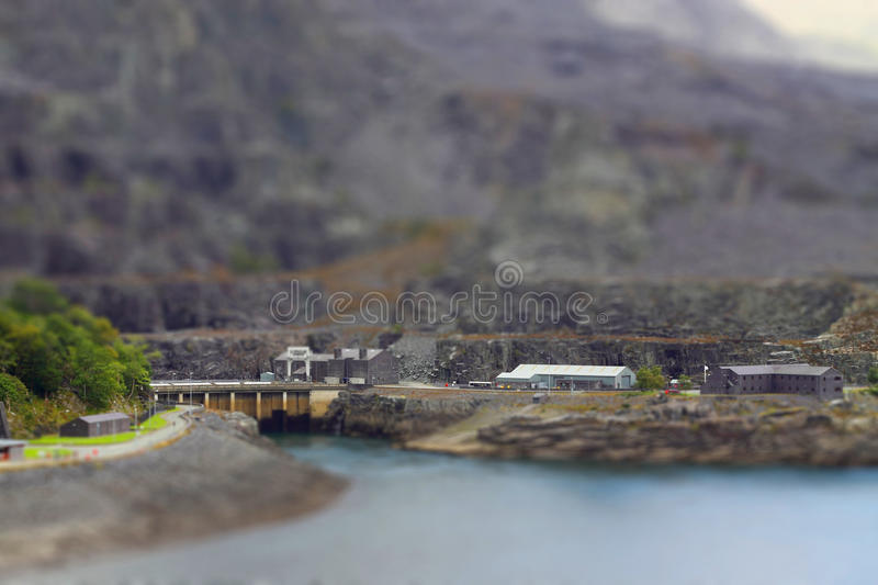 Quarry tilt and shift A. Tilt and shift photograph of a slate quarry in Wales stock photography
