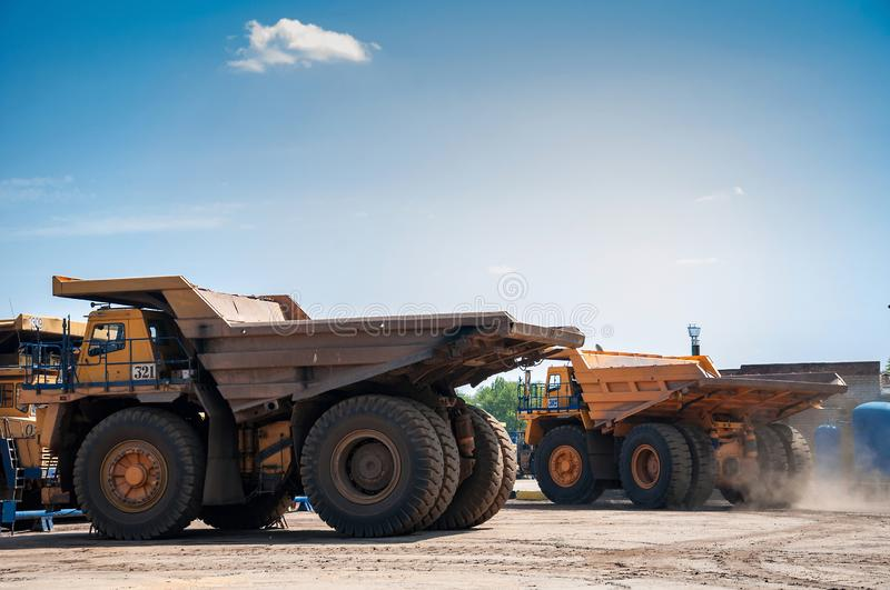 Quarry trucks at repair station royalty free stock photos