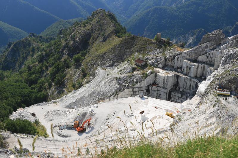 A quarry of white marble. The precious white marble has been extracted from the Alpi Apuane quarries since Roman times royalty free stock photos