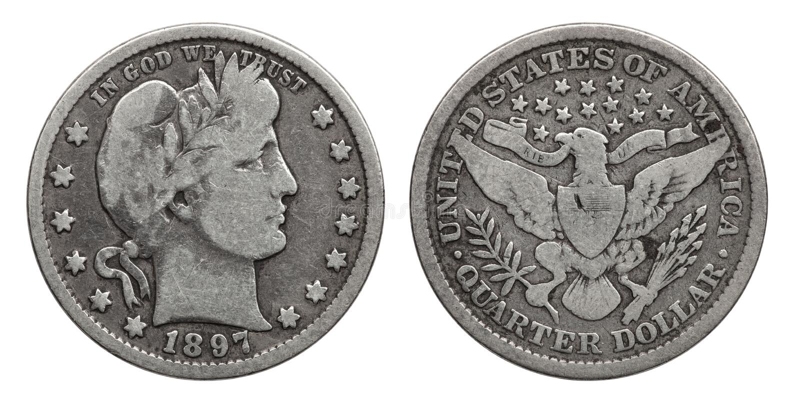 Quart de dollar des USA pièce en argent 1897 de 25 cents images libres de droits