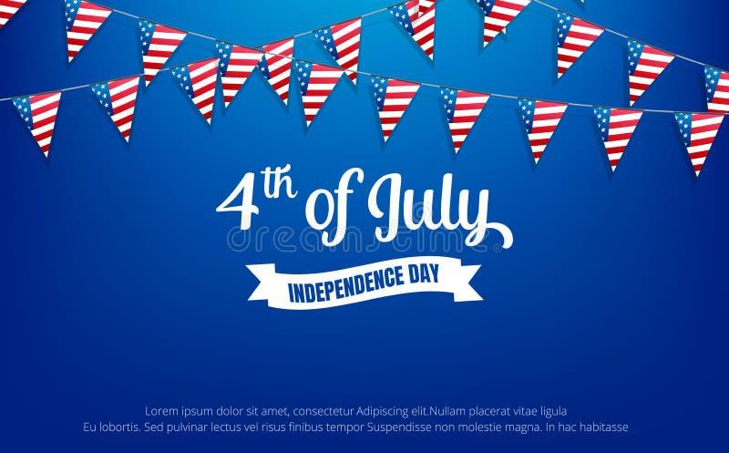 Quart de juillet 4ème de la bannière de vacances de juillet Bannière de Jour de la Déclaration d'Indépendance des Etats-Unis à ve illustration stock