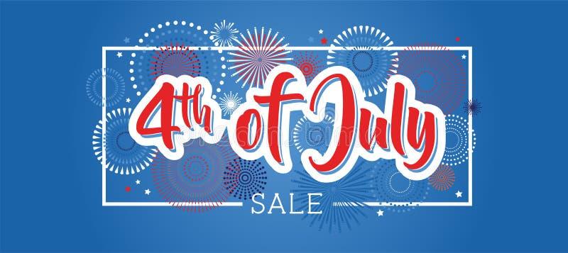 Quart de juillet 4ème de la bannière de vacances de juillet Bannière de Jour de la Déclaration d'Indépendance des Etats-Unis à ve illustration de vecteur