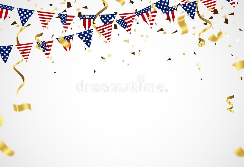 Quart de juillet 4ème de la bannière de vacances de juillet Jour de la Déclaration d'Indépendance des Etats-Unis illustration libre de droits