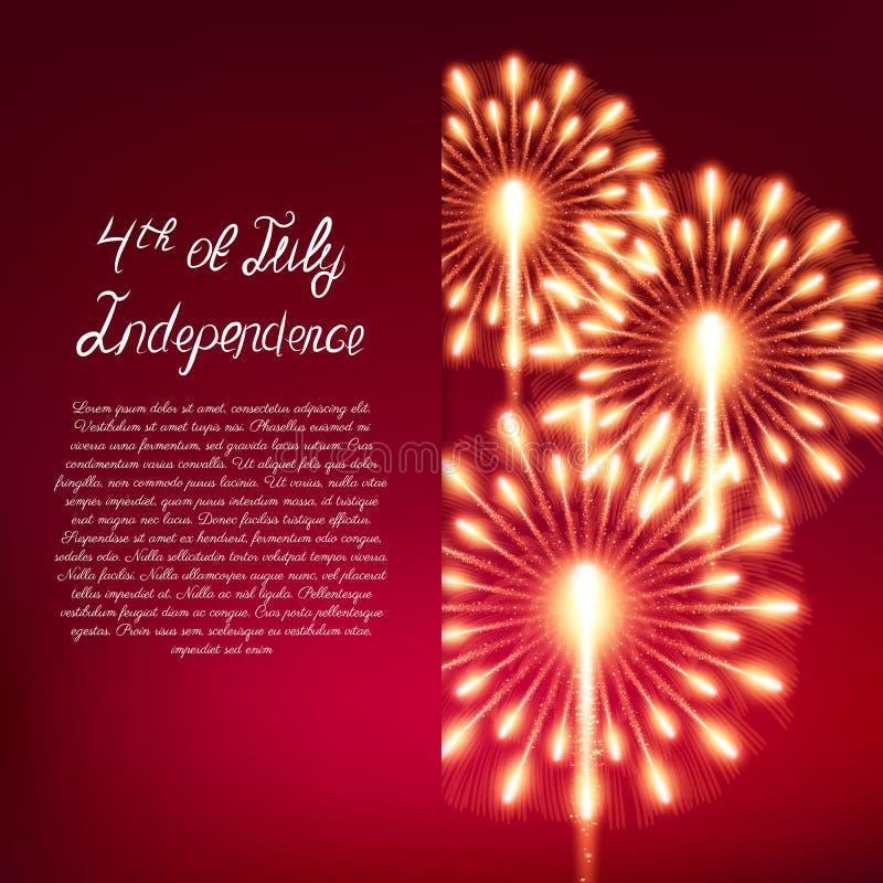 Quart de juillet Carte de voeux de Jour de la Déclaration d'Indépendance illustration de vecteur