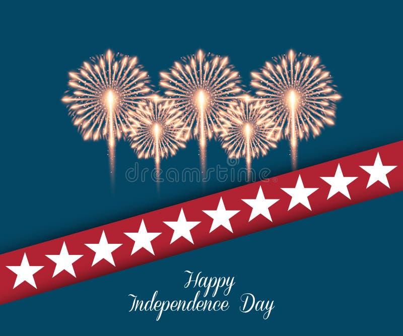 Quart de juillet Carte de voeux de Jour de la Déclaration d'Indépendance illustration stock