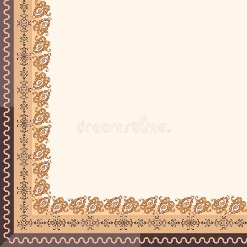 Quart de nappe ou de bandana simple avec la fronti?re ornementale de Paisley dans des tons d'or et bruns Illustration de vecteur illustration libre de droits