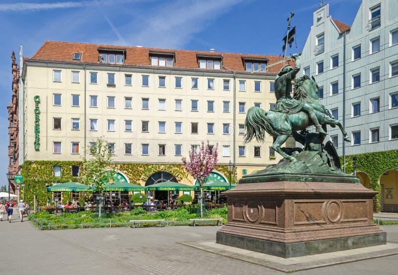Quart de ` de Nikolaiviertel Nicholas avec les maisons historiques, sculp photographie stock libre de droits