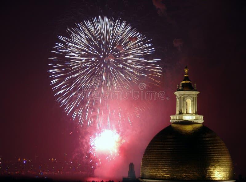 Quart des feux d'artifice de juillet à Boston 2006 images libres de droits