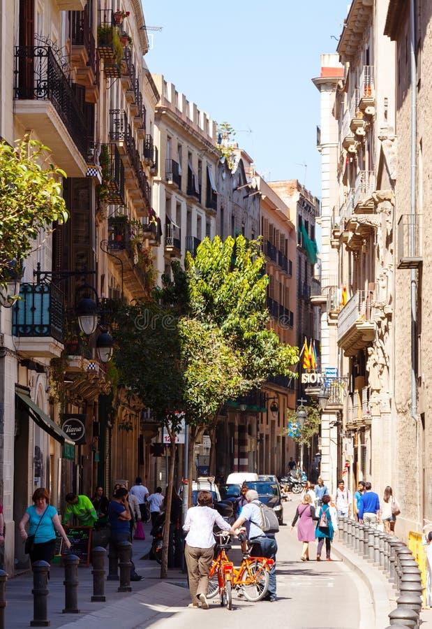 quart gothique de voie de lampe de Barcelone Barcelone, Espagne image stock
