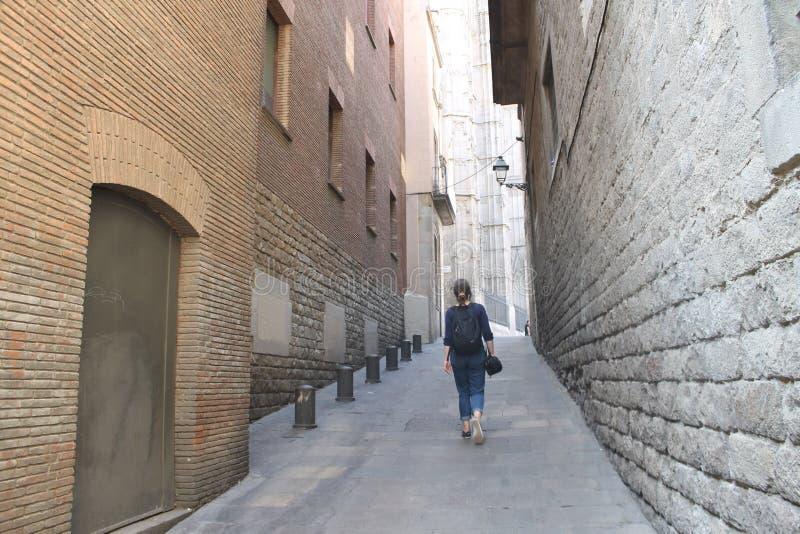 quart gothique de voie de lampe de Barcelone image stock