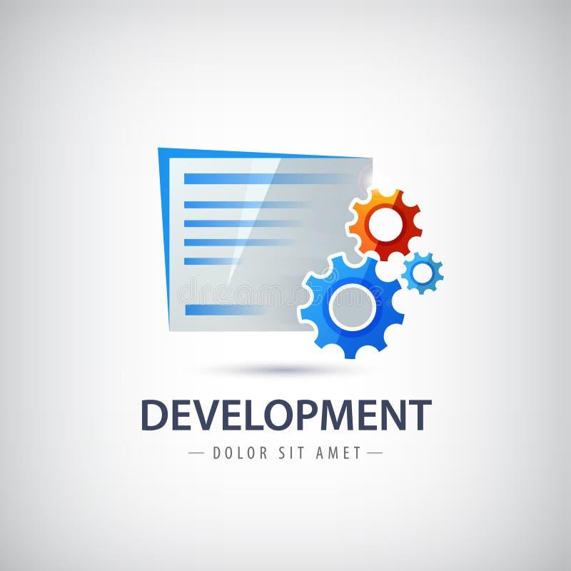 Quarta-feira, logotipo do vetor do desenvolvimento do projeto, ícone com ilustração stock
