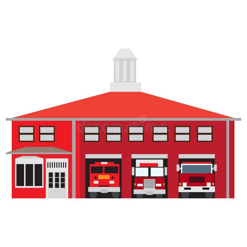 Quartel dos bombeiros isolado ilustração royalty free