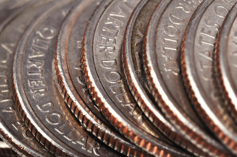 Quarter american coins. Extreme close up royalty free stock photos