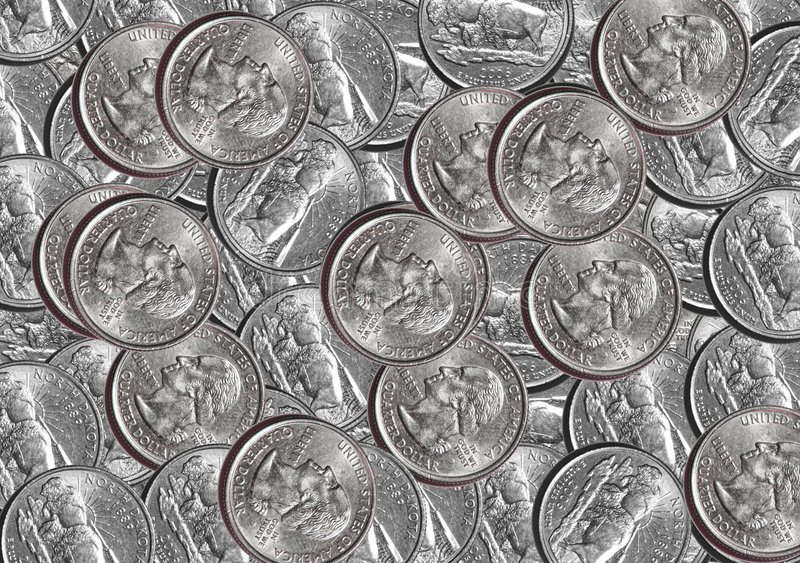 Quarter Coins. US dollar Quarter coins background stock photography