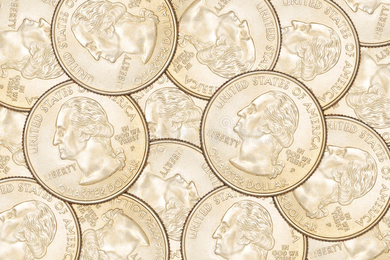 Quarter coins background. Heap of ten US 25 cent quarter coins. Can be use as background royalty free stock image