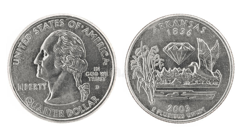 Quarter Dollar Arkansas. United States money. Quarter dollar coin (Arkansas). Obverse and reverse isolated over white royalty free stock images
