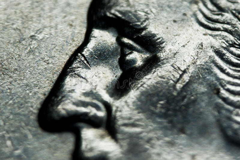 Quarter Dollar. Close up George Washington on quarter dollar coin royalty free stock photos