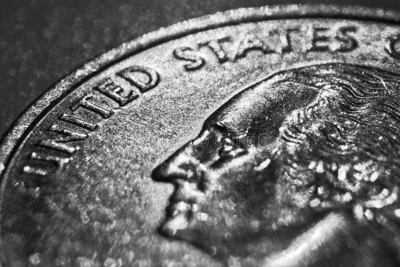 Quarter Dollar. Close up George Washington on quarter dollar coin United States royalty free stock photo