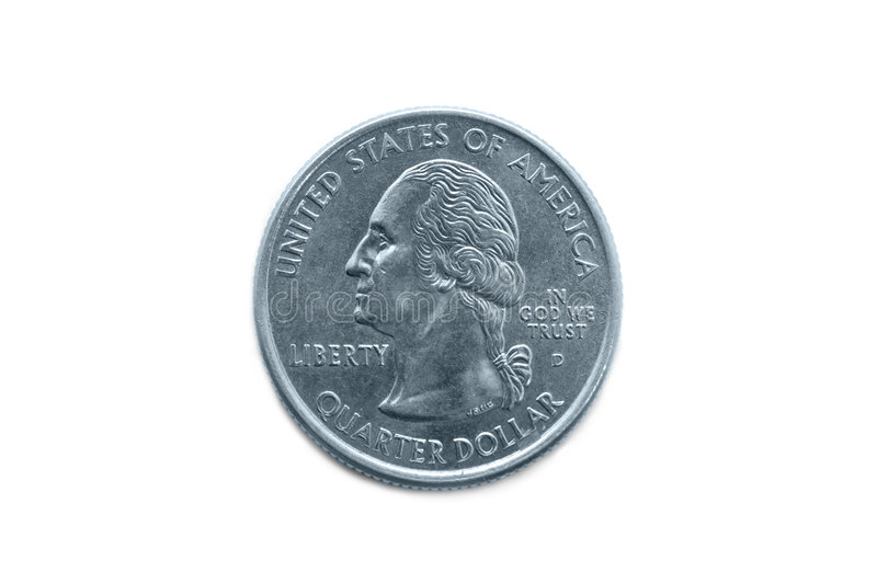 Quarter dollar coin macro. Shot isolated on white stock images