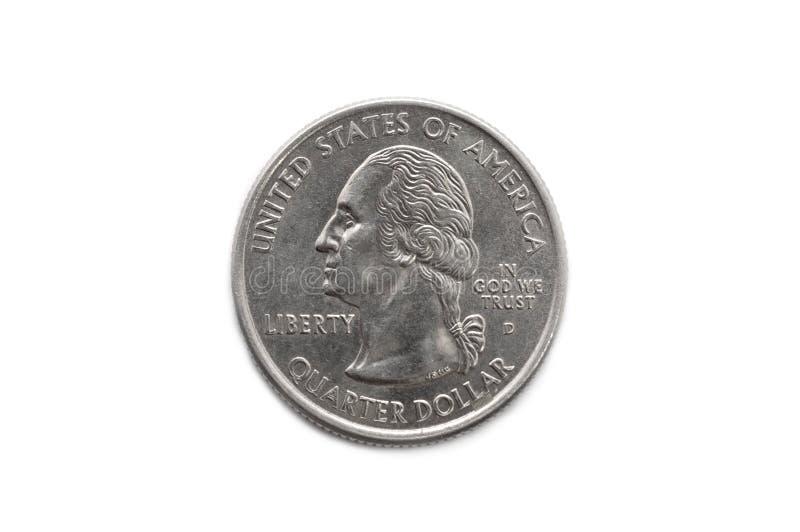 Quarter dollar coin macro. Shot isolated on white royalty free stock photo
