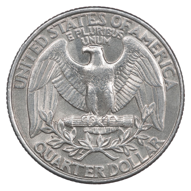 Quarter dollar coin. Old American quarter dollar coin Liberty 1998 stock image