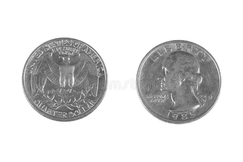 Quarter dollar. Coin from USA. Both sides isolated on white background stock photos