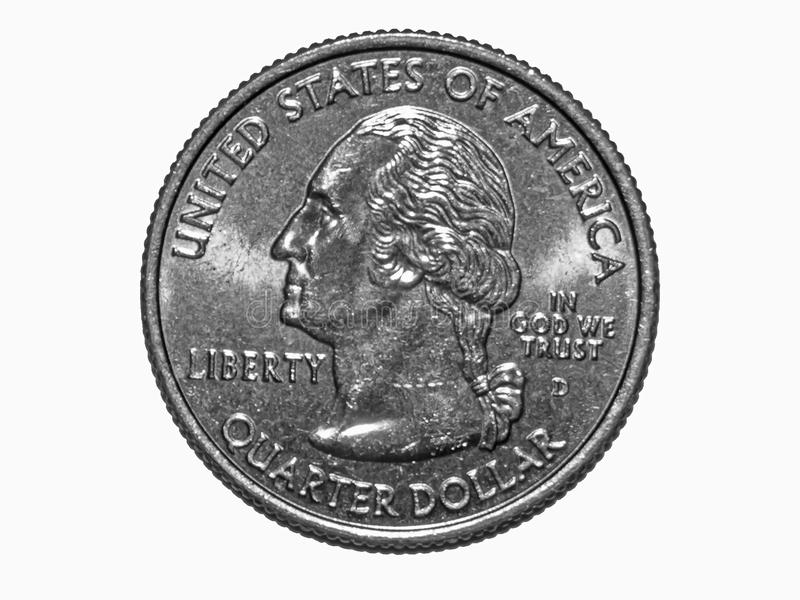 Quarter Dollar Coin. Quarter Dollar or 1/4 Dollar or Washington Quarter or 25 Cents issued in 2008 royalty free stock photography