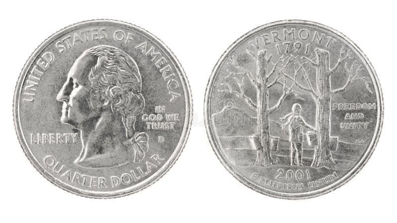 Quarter Dollar Vermont. United States money. Quarter dollar coin (Vermont). Obverse and reverse isolated over white stock photo