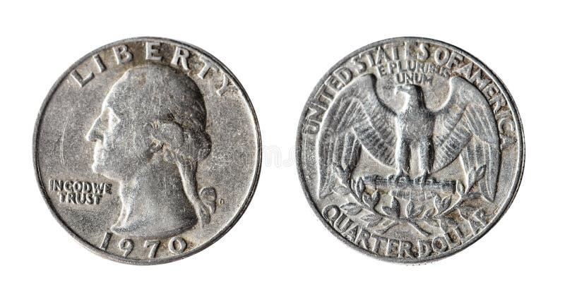 A quarter dollar, 1970, Washington. Isolated object on a white background. A quarter dollar 1970, Washington. Isolated object on a white background. Coins royalty free stock photos