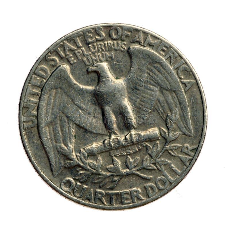 Quarter eagle side. US Quarter coin, on the eagle side royalty free stock images