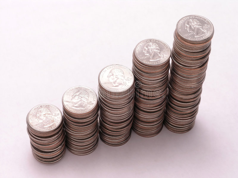 Quarter graph 1. Upward graph of quarter stacks stock photo