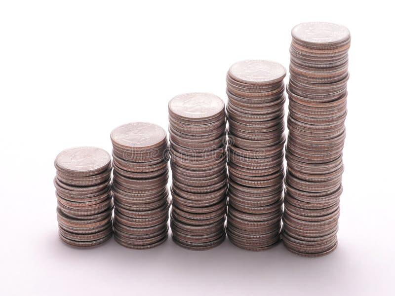 Quarter graph 2. Upward graph of quarter stacks stock photos