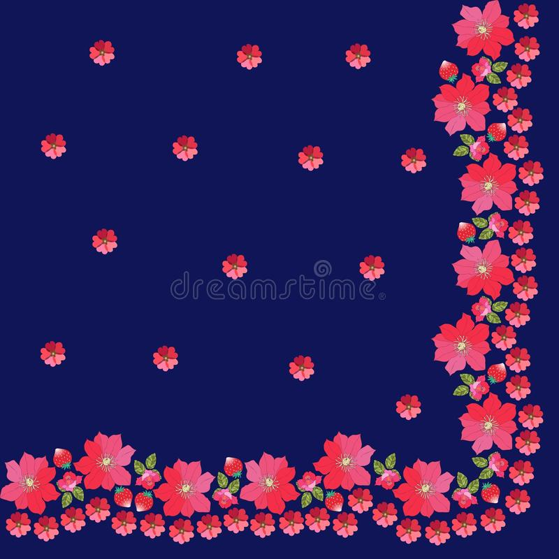 Quarter of kerchief with floral border. Rose, mallow, strawberry and clematis. Spanish shawl. Manton vector illustration