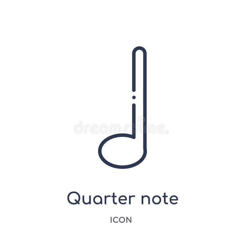 Quarter note icon from music and media outline collection. Thin line quarter note icon isolated on white background royalty free illustration